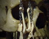 Silver Chain and Bone Dangle Earrings