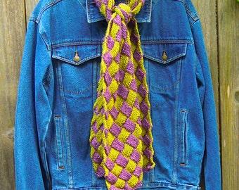 Silk and Wool Entrelac Scarf-OOAK