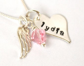 Hand-Stamped Memory Necklace with Angel Wing and Swarovski Bead
