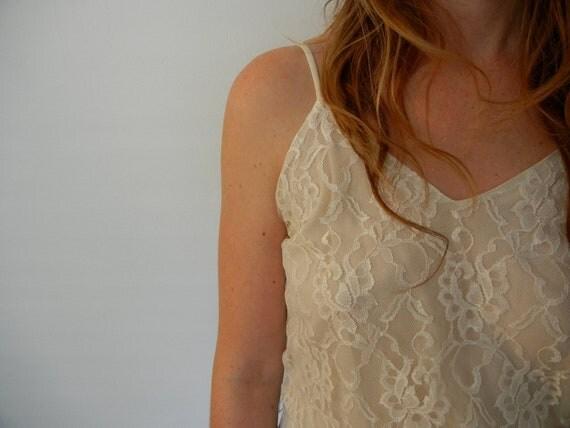 Vintage Lace Wedding Dress - Off White Spagetti Strap 80's