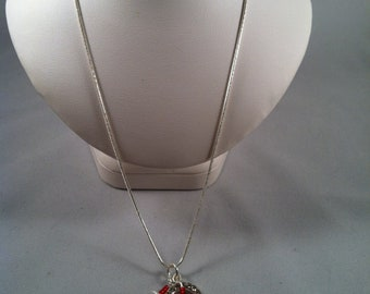 Red Necklace - Silver Chain Necklace - Affordable Beaded Jewelry - Gifts for Her - Jewelry Gift - Heart - Rhinestone Heart