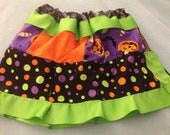 Halloween skirt with multicolored patterns and ribbons