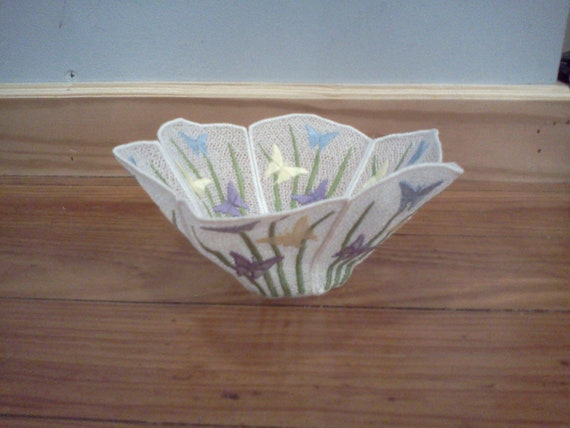 Homemade Butterfly Embroidered decorative cloth basket