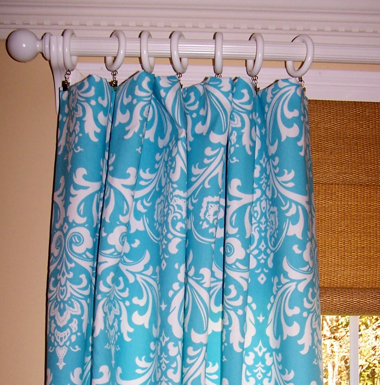 Turquoise blue damask curtains premier by cathyscustompillows
