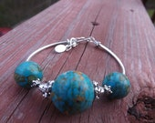 Turquoise Howlite and Sterling Silver Plate Bracelet