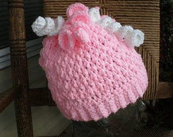 Girls Crochet Hat with Curls