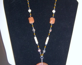 Tan and Orange Beaded Necklace