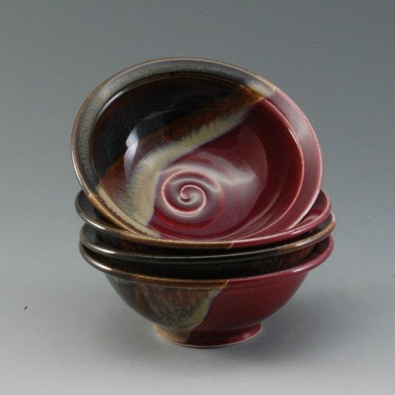 Pottery Bowl Plum Red Brown Porcelain by Mark Hudak