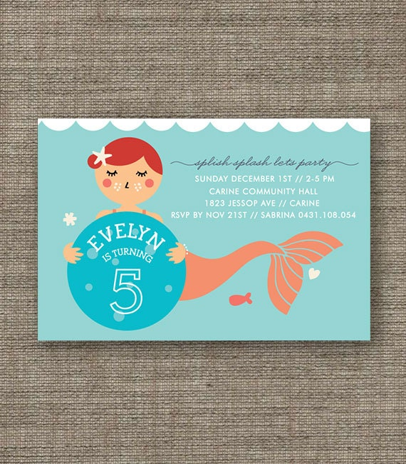 Mermaid Party Printable Invitation - 4th 5th 6th 7th 8th under the sea birthday invite for girl - customized pdf - peach, purple or green