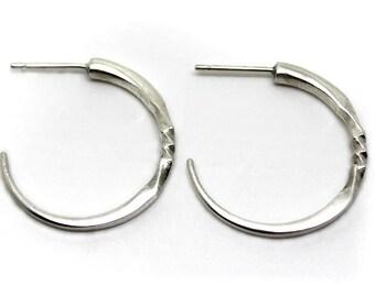 Silver Hoop Earrings with a Twist-Silver stud earrings-Gypsy hoop earrings .