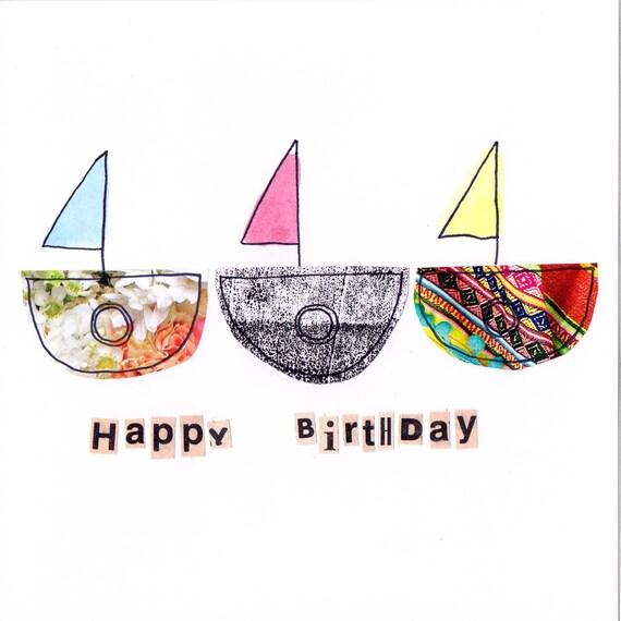 Items Similar To A 'Happy Birthday' Boat Card. On Etsy