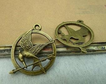 10pcs 25mm Antique Bronze Lovely Smaller Bird  Charm Pendant c3073