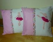 handmade set of two pink ballerina  for girls room gift cushion