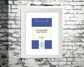 "Book Clubs: ""Birmingham"" A4 Football Print in blue and white."