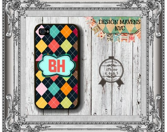 Monogram Argyle iPhone Case, Hard Plastic iPhone Case, Fits iPhone 4, iPhone 4s & iPhone 5
