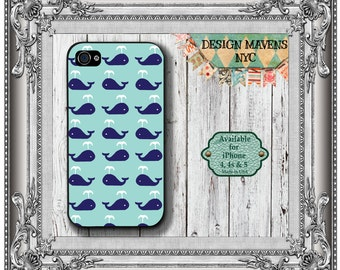 Preppy Whale iPhone Case, Nautical iPhone Case, Blue iPhone Case, iPhone 4, 4s, iPhone 5, 5s, 5c, iPhone 6, 6s, 6 Plus, SE, Phone Case