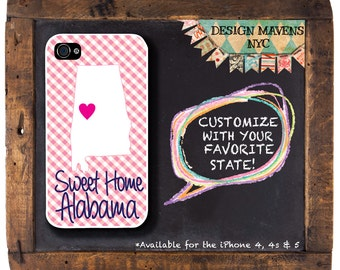 Alabama Gingham iPhone Case, Personalized iPhone Case, iPhone 4, iPhone 4s, iPhone 5, iPhone 5s, iPhone 5c, iPhone 6, Phone Case