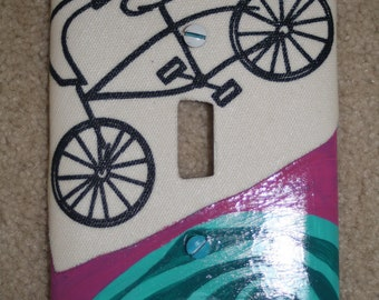 turquoise bike switch plate cover