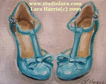Custom Wedding Shoes Painting in OIL by LARA 5x7 High Heels