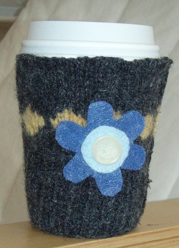 Eco Friendly - Felted Wool Coffee Mug Cozy Sleeve Grey & Yellow