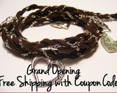 Brown Suede Braided Silver Chain Wrap Charm Bracelet