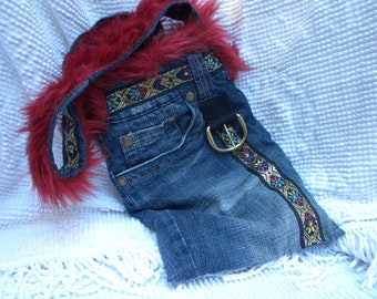 Boho Furry Blue Jean shoulder bag