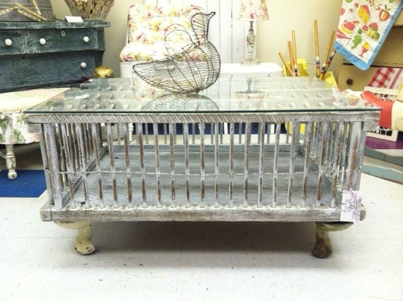 Items Similar To Vintage Chicken Crate Coop Coffee Table On Etsy
