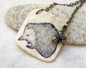 Unique necklace with hand painted Hedgehog. Best for autumn, nature lovers and romantic people