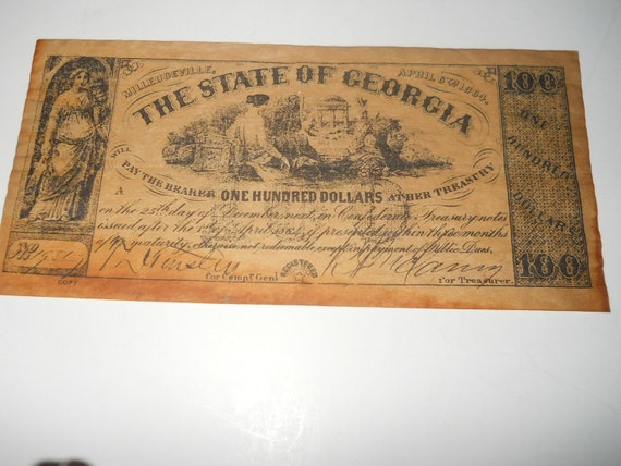 State of Georgia one hundred dollar bill April 6, 1864