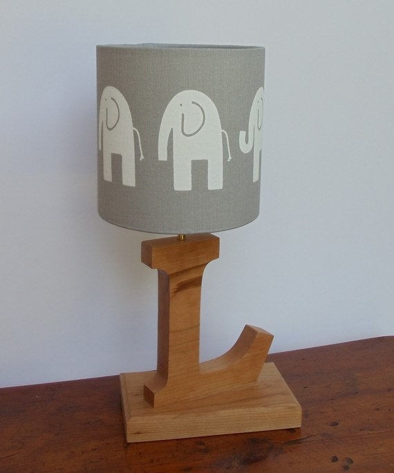 small handmade elephant drum lamp shade grey with white. Black Bedroom Furniture Sets. Home Design Ideas