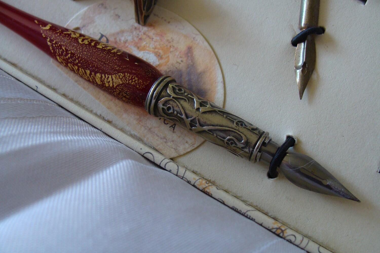 Italian Art Glass Calligraphy Pen Set W Rest Inks