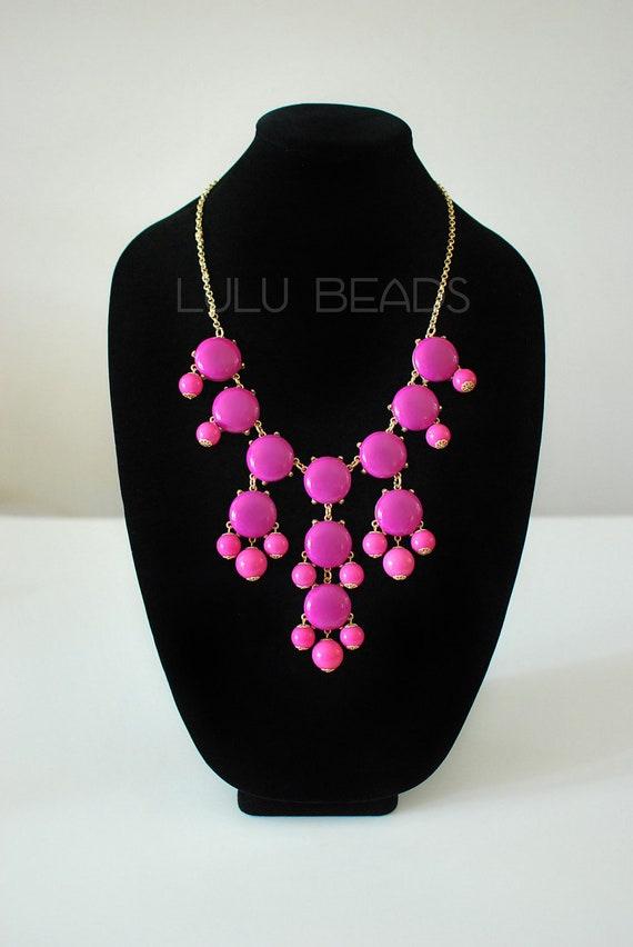 Fuschia / Pink Necklace - Statement Necklace - JCrew Inspired