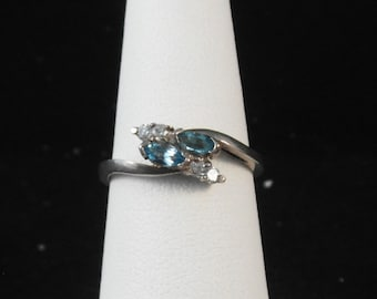 Sterling Silver Blue Marquise BY Pass Ring Size 7