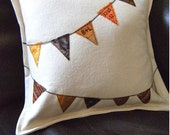 Fall Colors Bunting Pillow with Your Initials and Special Date