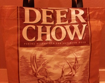 Recycled Feed Bag Tote, reusable tote bag, grocery tote, recycled shopping bags, reusable grocery bag, recycled tote  Deer Feed Chow Brown