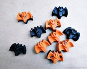 10pc. Spooky Halloween Bat Mini - Recycled Crayons Set for Lil' Artists (Orange Black) Made by KIDS