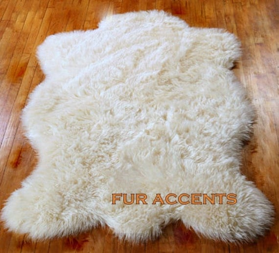 FUR ACCENTS Calssic Faux Fur Sheepskin Area Rug / By