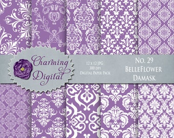 Purple Damask Digital Paper, Purple Scrapbooking Digital Paper, No. 29 Belleflower Damask