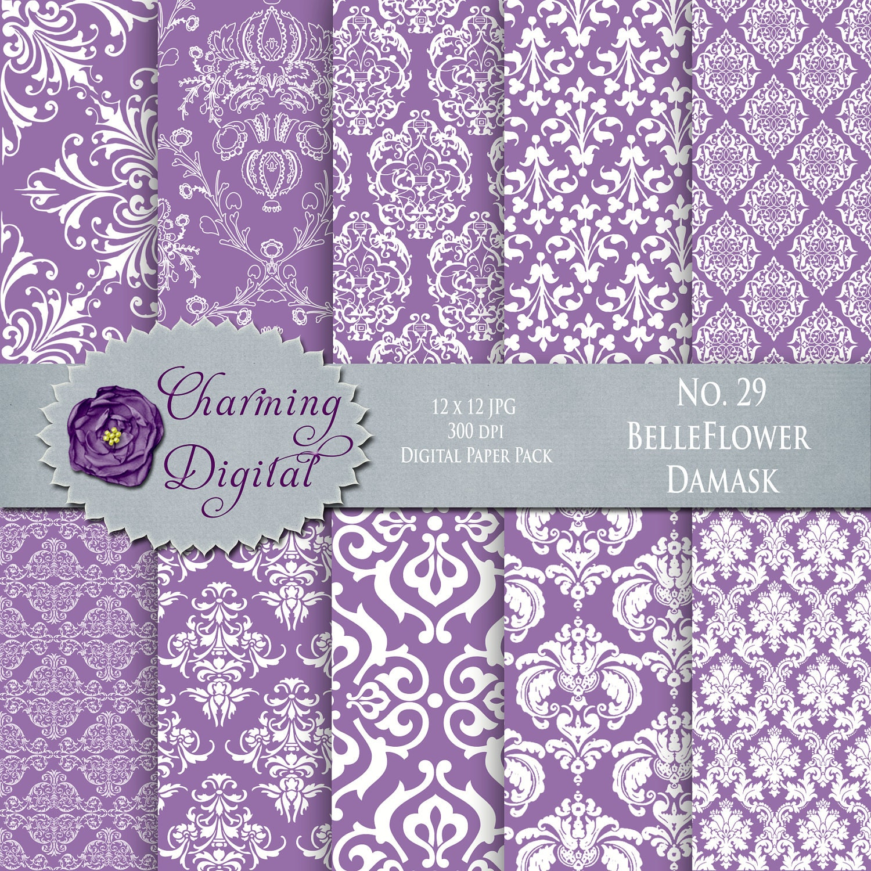 Purple Damask Digital Paper Purple Scrapbooking by ...