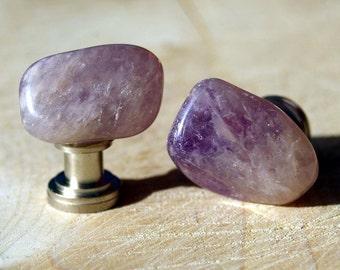 Amethyst Cabinet Knobs - Set of 2, Purple knobs, stone knobs, lavender