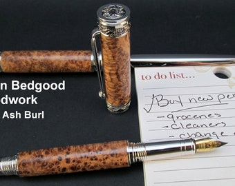 Pen Custom Fountain and letter opener made from Black Ash Burl, Fine Writing Instrument, wood pen