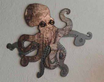 Octopus sheet metal wall art made-to-order