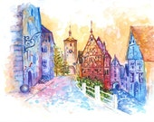 Print from Original Watercolor Travel  Art Illustration titled Fairytale Of Rottenburg