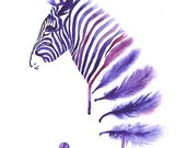 Purple Zebra Art Print A3, Wall Art Home Decor, Horse Art, Contemporary Modern Poster, Zebra Feather Watercolor - Mysoulfly