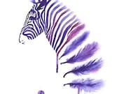 Purple Zebra Art Print A3, Large Wall Art Home Decor, Horse Art, Contemporary Modern Poster, Zebra Feather Watercolor