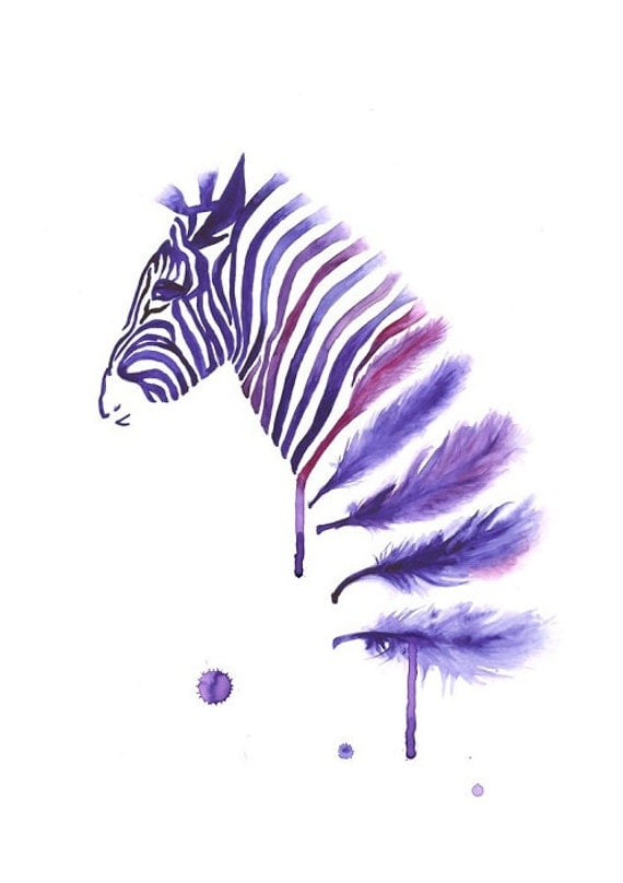 Items Similar To Purple Zebra Art Print A3 Large Wall Art