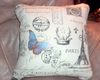 Premier Prints Paris Pillow Cover -  Premier Prints - Blue Butterfly -  Eiffel Tower -  5 sizs - Paris Pillow - French Country Decor