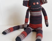 Brown, Black, White and Maroon Striped Monkey - Large