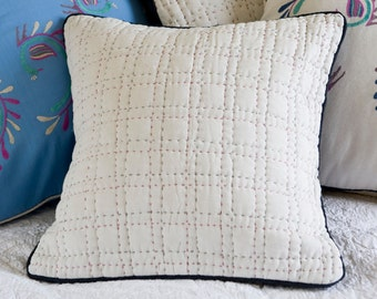 Hand-embroidered Criss-Cross Cushion - White
