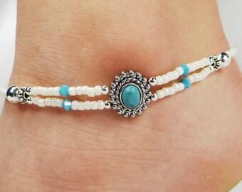 Anklet, Ankle Bracelet, Turquoise Anklet, Turquoise Jewelry, Southwestern Anklet, Southwestern Jewelry, Blue Anklet Beach Anklet Boho Anklet